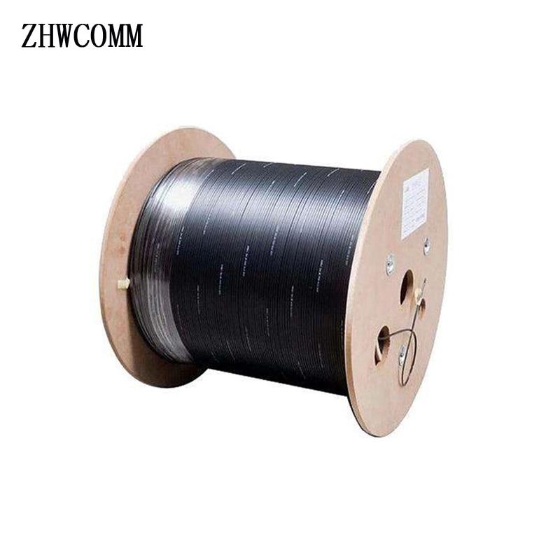 ZHWCOMM 1000 m/roll 1 core 3 fil d'acier extérieure Fiber Optique Câble FTTH Monomode Câble Patch Cordon