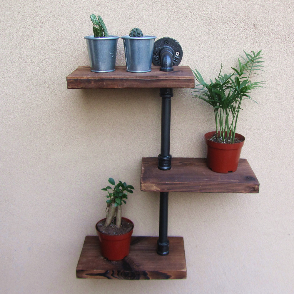 industrial rustic design furniture. Industrial Rustic Urban Iron Pipe Wall Shelf 3 Tiers Wooden Board Shelving Home Restaurant Bar Shop Decor Storage-in Storage Holders \u0026 Racks From Design Furniture E