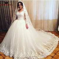 Custom Made Long Fluffy Wedding Dresses Ball Gown Tulle Lace Romantic Long 2018 New Fashion Vestidos