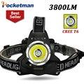 3800Lm CREE T6 Faróis Led Head Lamp Luz Do Farol Lanterna Lanterna de Acampamento de Pesca Caminhadas Ciclismo Farol