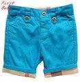 Nueva marca de diseño niñas niños plaid shorts niños pantalones casuales pantalones de la muchacha encantadora niños de algodón fino pantalón doblado 16D1224
