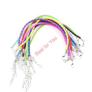 Image 4 - 50pcs Hope Breast Cancer Awareness Ribbon Charm Pendant Leather Rope Cham Bracelet Fit for European Bracelet Handmade Craft DIY
