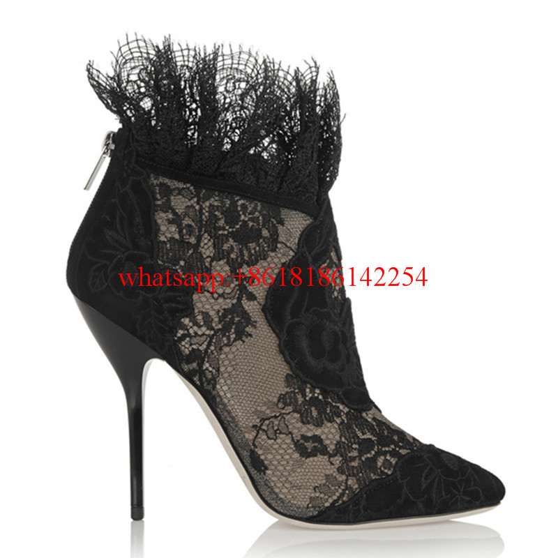 New Arrivals Super Star Brand High Heel Boots Fashion Women Pumps Leather Ankle Boots Ladies' Sexy Lace Boots Zapatos Mujer