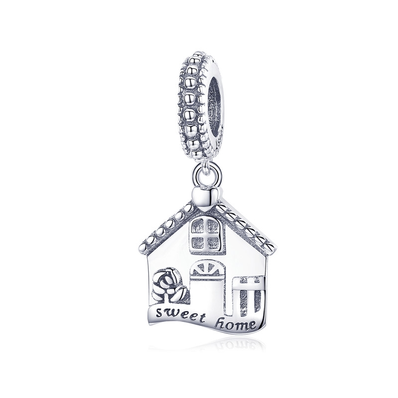 купить BAMOER Authentic 100% 925 Sterling Silver Sweet Home Pendant House Shape Charms fit for Women Bracelets DIY Jewelry Gift SCC913 в интернет-магазине