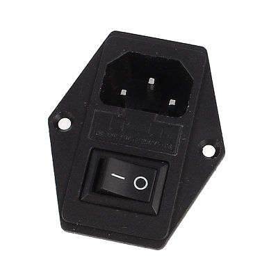 SPST ON-OFF Rocker Switch 250V 10A Fuse Holder IEC320 C14 Power Socket high quality 10pcs green light illuminated 20mm mounting holes on off spst 3pin round rocker switch 6a 250v 10a 125v ac