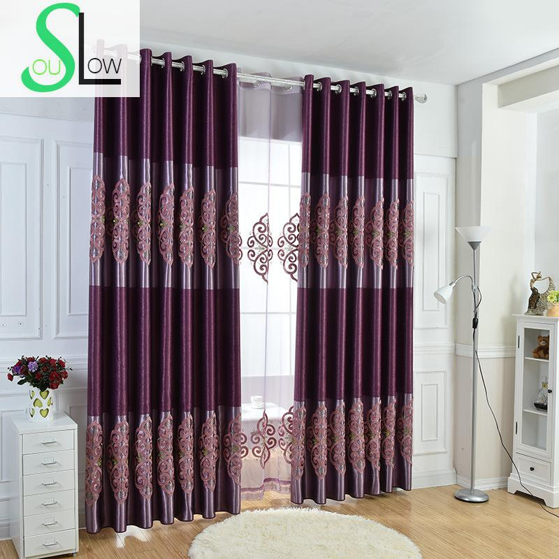 Slow Soul Purple Modern Minimalist Curtains For Living Room Kitchen Bedroom Cortinas Dormitorio Tulle Blackout Chinese Cortina
