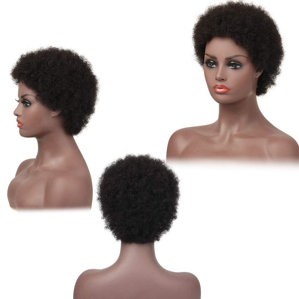 Short Afro Kinky Curly Wig Brazilian 100% Human Hair Non-Remy Hair Wig For Women Natural Black Color SalonChat