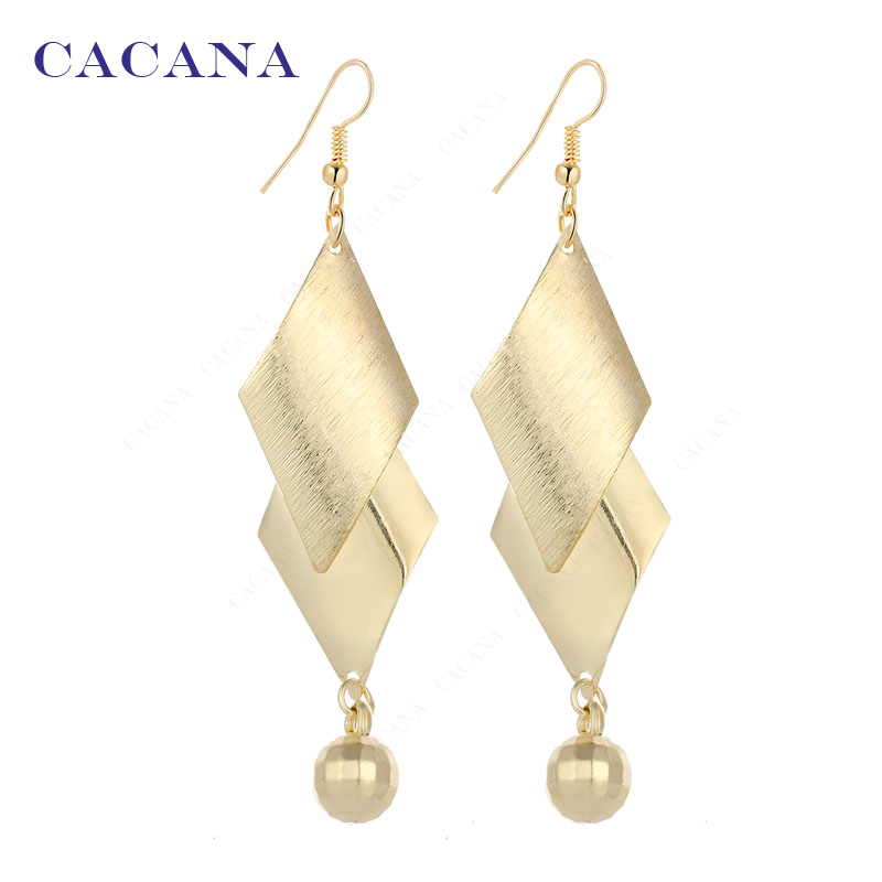 Cacana Official Store CACANA  Dangle Long Earrings For Women Double Lozenge Top Quality Bijouterie Hot Sale No.A235 A236