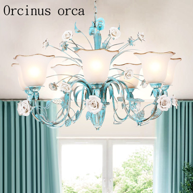Mediterranean pastoral blue rose chandelier living room dining room bedroom Korean iron flowers Chandelier free shipping
