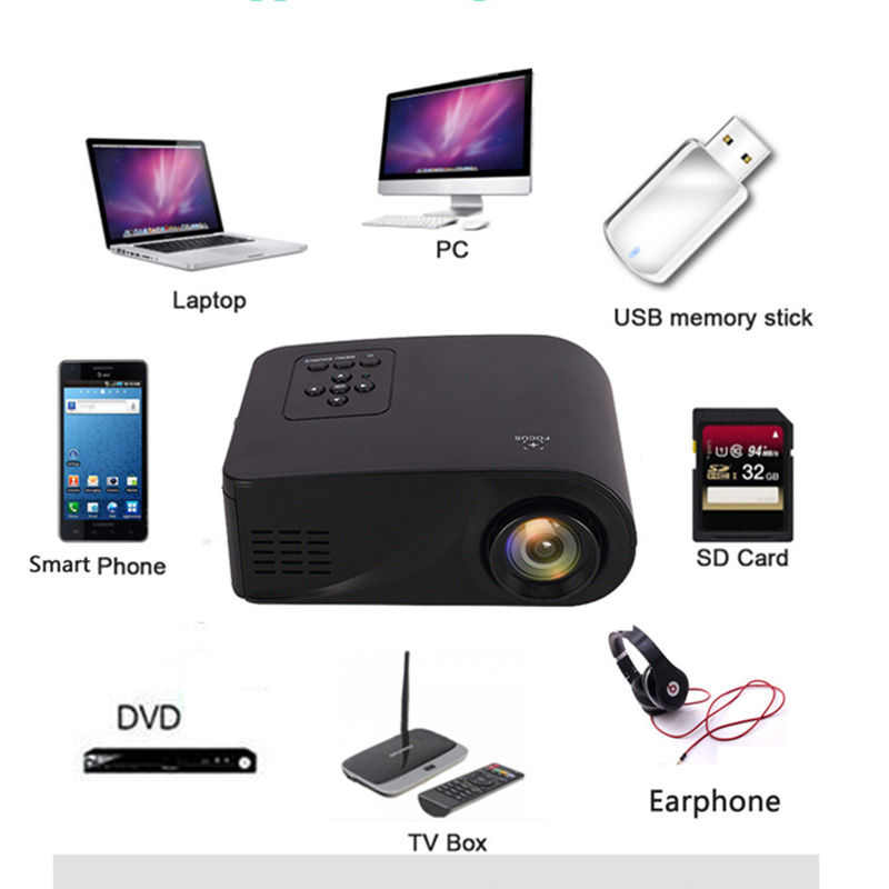 Mini Household HD Miniature Projector 3D Home theater Portable Cell phone projector High quality focusing lens 1080P HD TOP t 3d mini phone