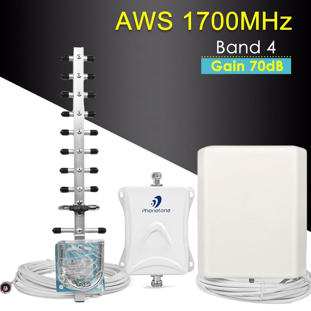 Cellulaire Signal Booster 4G LTE Amplificateur AWS 1700 MHz Bande 4 Répéteur Gain 70dB Communication Mobile Réseau Booster Répéteur kit