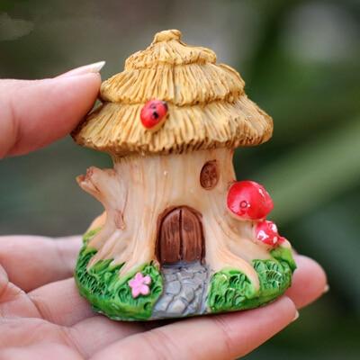 Sale Artificial Resin Tree Wooden House Miniature Plants Fairy Garden Gnome  Moss Terrarium Decor For Crafts