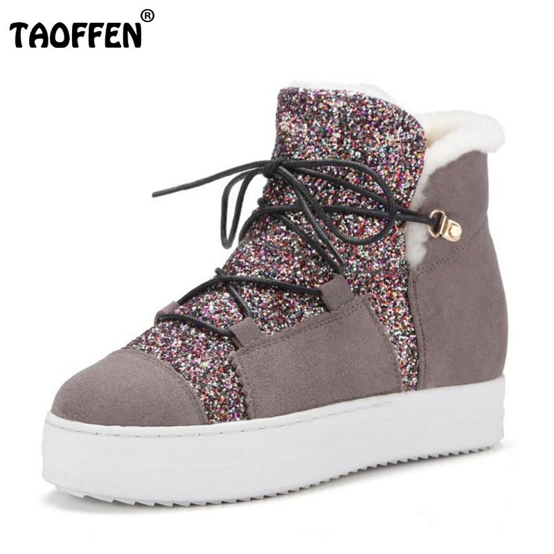 TAOFFEN Women Genuine Leather Flats Snow Boots Women Metal Buckle Mid Calf Boots Warm Fur Shoes For Women Footwears Size 34-39 taoffen women genuine leather flats snow boots women metal buckle mid calf boots warm fur shoes for women footwears size 34 39