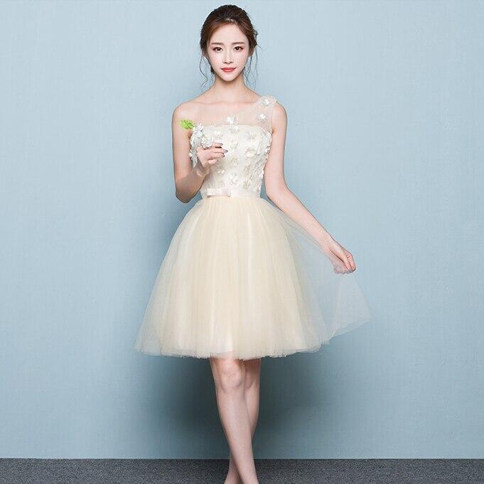 De las mujeres elegantes corto crema champagne formal vestido ...
