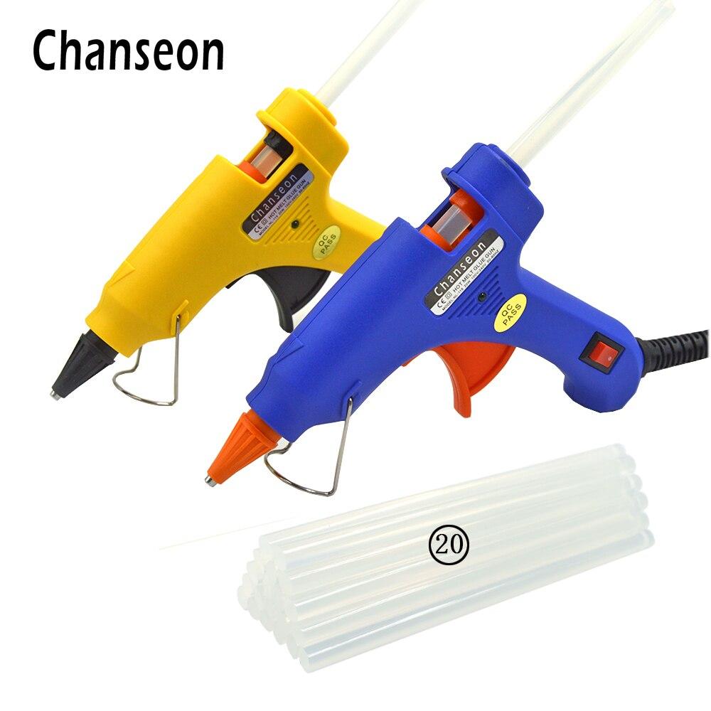 Chanseon 20 w EU/US Hot Melt Pistola di Colla con 20 pz 7mm Colla Spiedi Industriale Mini Pistole termo Elettrico di Calore Strumento di Temperatura