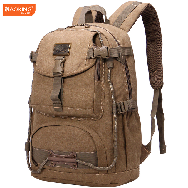 ea98a1b232 Aoking Fashion Canvas Casual Backpacks Men s Leisure Multifunction Rucksack  Large Capacity Rucksack Shoulder School Bag
