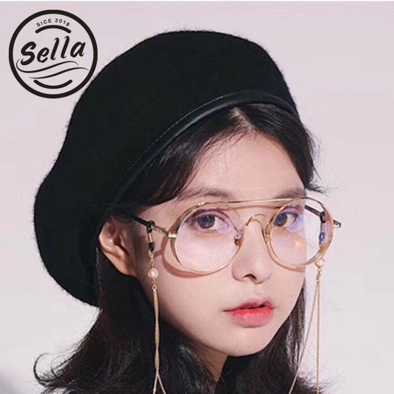 Sella New Fashion Retro Round Glasses Frame Radiation Protection Blu-ray Clear Lens Chains Decoration Eyewear Frame