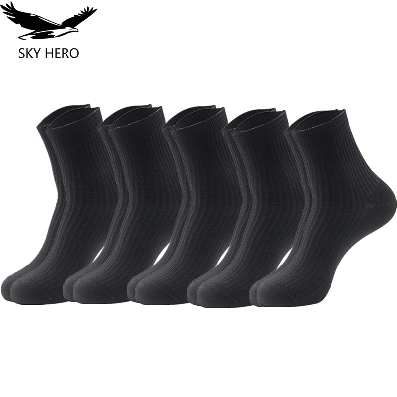 5 Pairs/lot Men's Casual Combed Cotton Socks Man Crew Socks Winter Socks Clothes Summer SKY HERO