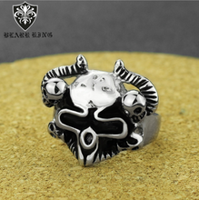 Men's Titanium Steel Sheep's Head Ring        Animal skull ring         Men's stainless steel ring r006 7 skull shaped stylish titanium steel ring silver us size 6