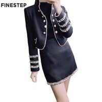 Роскошные Для женщин пальто с пикантные черные сапоги мини юбка комплект из двух предметов юбка зимние пальто на весну осень