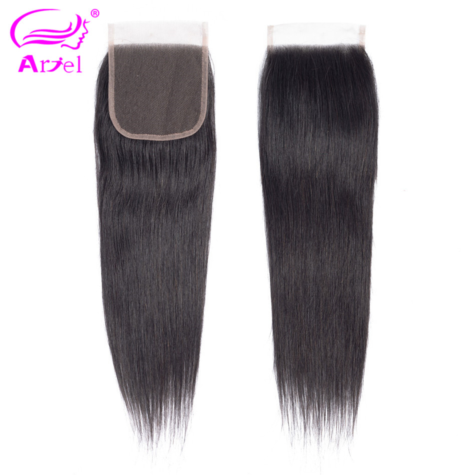 Ariel Peruvian Straight 4*4 Lace Closure 100% Human Hair Natural Color Non- 1PC/Lot