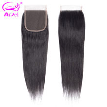 Ariel Peruvian Hair Closure Straight 4*4 Lace Closure 100% Human Hair Natural Color Non- Remy Hair Weaving 1PC/Lot Free Shipping(China)
