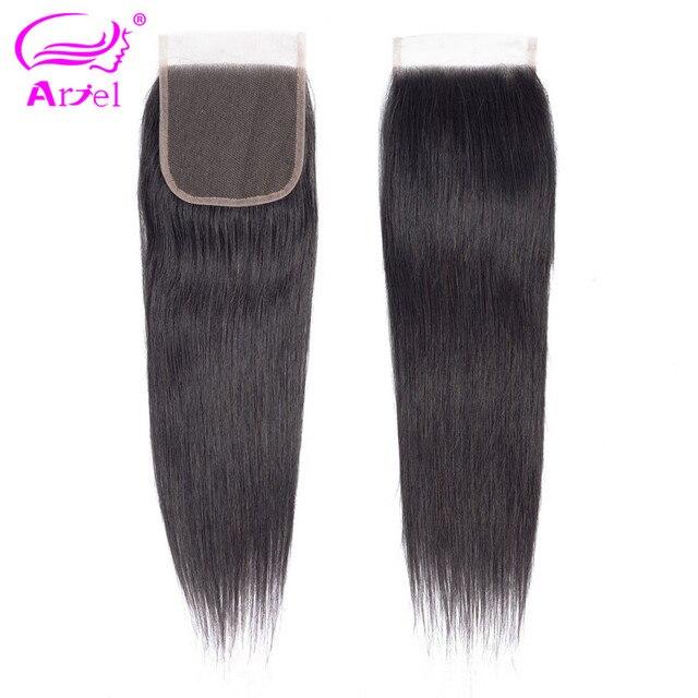 Ariel pelo peruano cierre recto 4*4 encaje cierre 100% cabello humano Color Natural no Remy cabello tejido 1 PC/lote envío gratis