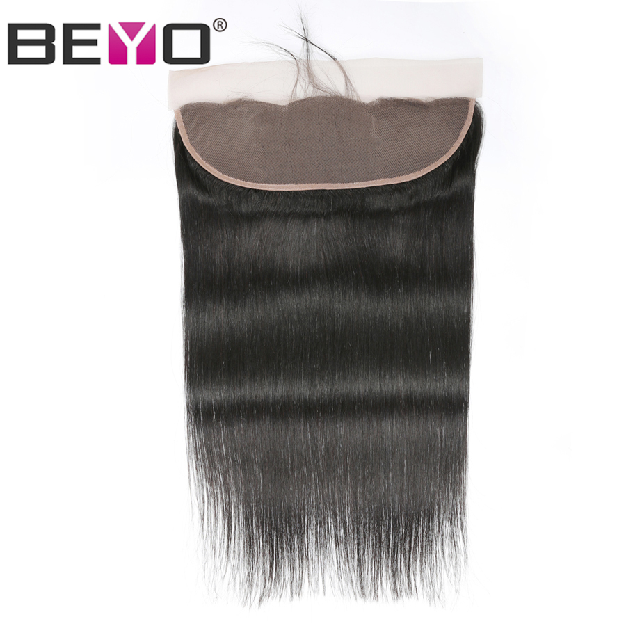 Beyo Ear To Ear Lace Frontal Closure 13x4 Brazilian Straight Hair Pre-Plucked With Baby Hair Human Hair Closure Non Remy Hair