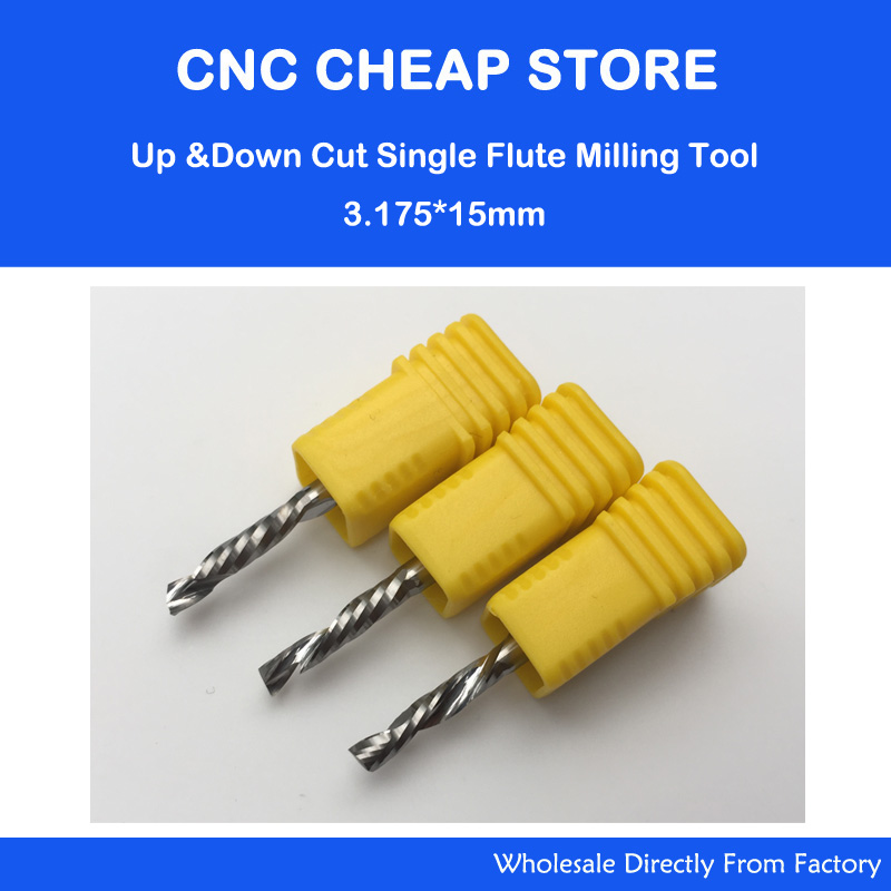 Up Down Cut 3.175x15MM Single Flute AAA Solid Carbide CNC Router Endmill Compression Wood Tungsten End Milling Cutter Tool Bit