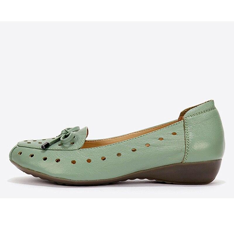 Femmes Confortable vert 2017 D'été Mode Sandales blanc De Cuir apricot Maman Yaerni Noir Respirant Véritable Souple En Plat Et Chaussures qzE1wCxdT