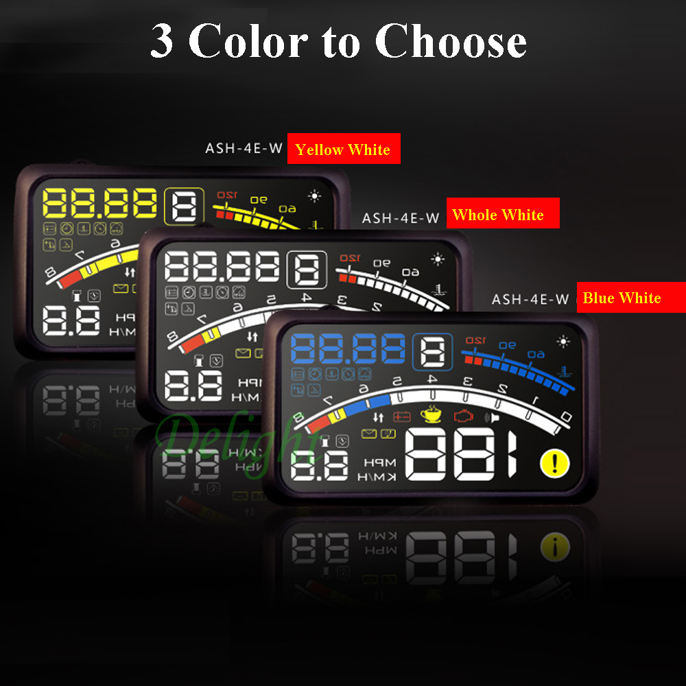 Aliexpress com buy new hot 5 5 large screen car hud head up display obd ii 2 auto speed warning system km h rpm lcd display hud car free shipping from
