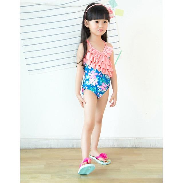 083b1d795a5 Children Swimwear Girls One Piece Swimsuit Sunscreen Beach Wear Triangle Bikinis  kids Multilayer Cake Bathing Suit