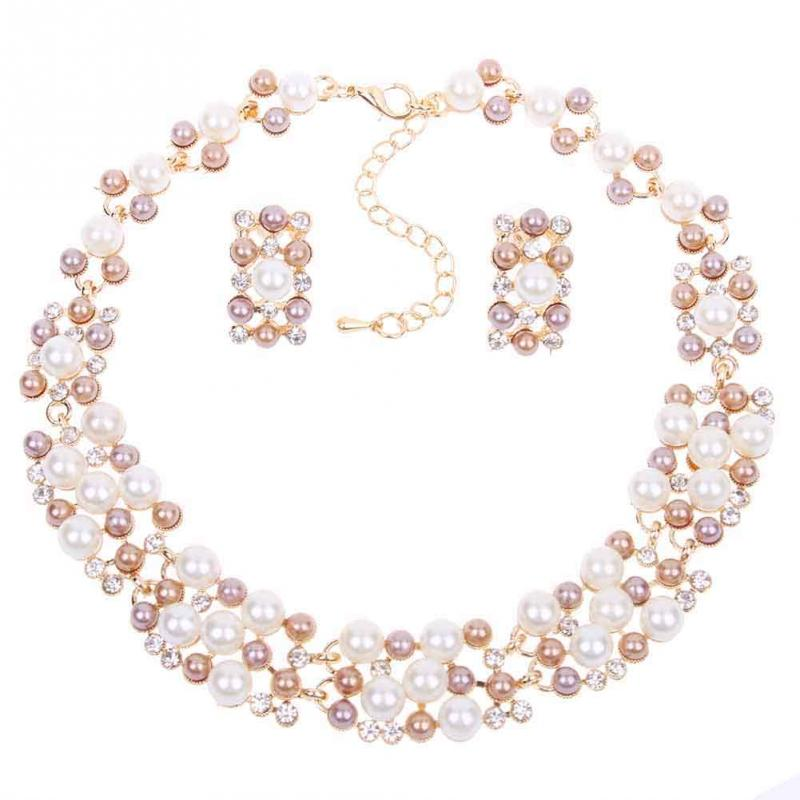 New Womens Ladies Jewellery Sets Rose Gold Plated Faux Pearl Crystal