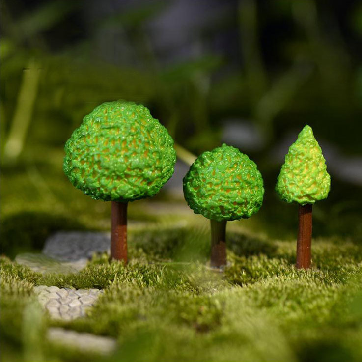 3Pcs Cabochon Craft Micro Garden Cute Green Trees Home Decor Lawn Bulding Toys Moss Eco Bottle Diy Accessories Ornaments K6807