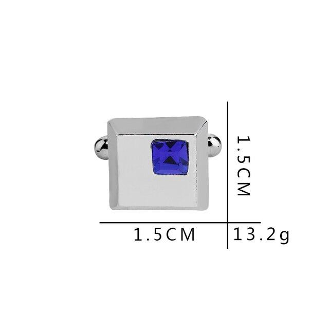 Высококачественные запонки с синими кристаллами стразы посеребренные