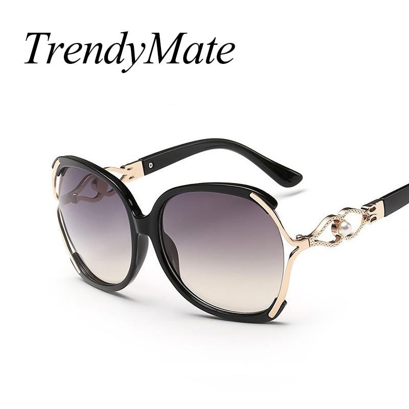 2017 New Vintage Pearl Sunglasses Women Oculos De Sol Feminino Fashion Gradient Sunglass Women Brand Designer Sun Glasses 142M