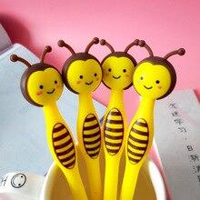 50 قطعة الكرتون ليتل النحل هلام القلم الإبداعية لطيف القرطاسية طالب قلم أسود هدايا للأطفال