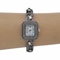 2 Styles Fashion Illegal Guns Wide Layered Chain Vogue Round Bracelet Carved Flower Rhinestone Quartz Wrist