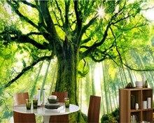 Beibehang Custom wallpaper dreamy fresh green tree forest sunlit TV background wall 3d living room bedroom bathroom