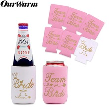 OurWarm 12Pcs Bachelorette Party Decorations Can Cooler Sleeves Team Bride and Coolers Bag Bridal Shower Bridesmaid Gift