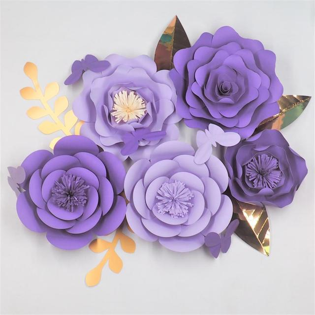 2018 Diy Giant Paper Flowers Backdrop 5pcs Leaves 5pcs Butterflies