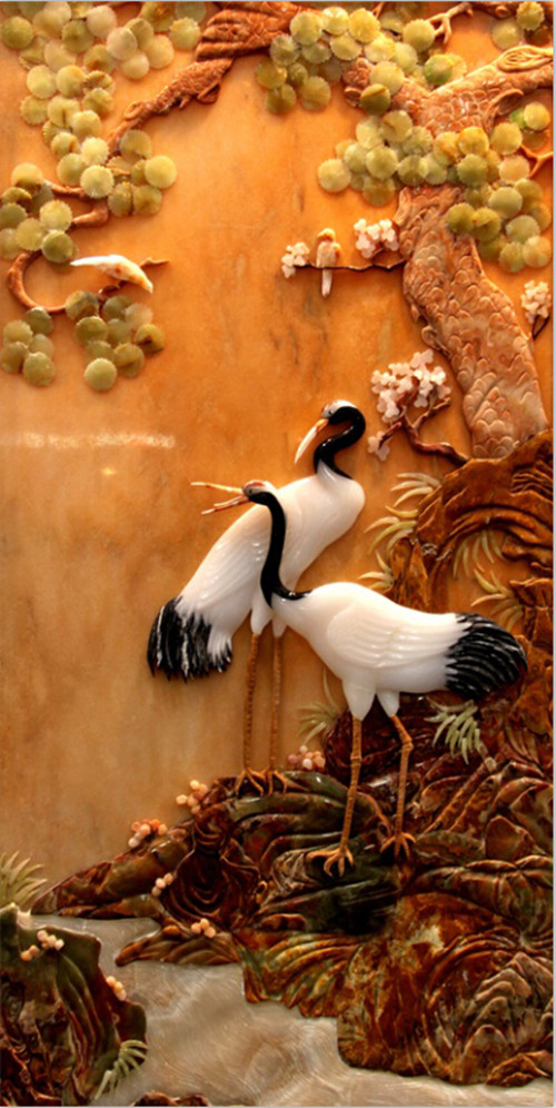 Custom 3D large mural, Chinese style 3d Red-crowned crane and trees murals papel de parede,living room Porch wallpaper