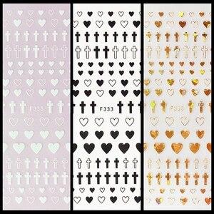 Image 1 - 1 ورقة 4 ألوان فارغة الصلبة الصليب شكل قلب ذاتية اللصق مسمار الفن ملصقات DIY بها بنفسك نصائح F333 #