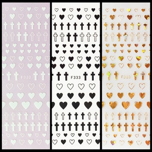 Image 1 - 1 Sheet 4 Colors Empty Solid Cross Heart Shape Self Adhesive Nail Art Stickers DIY Tips F333#