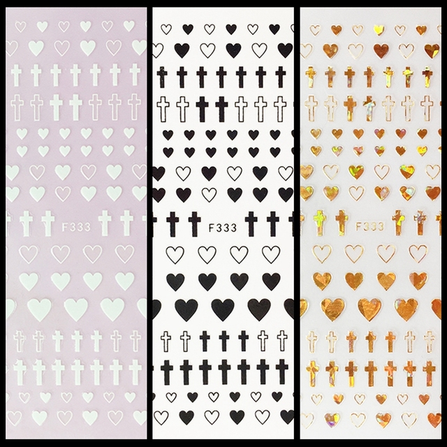 1 Sheet 4 Colors Empty Solid Cross Heart Shape Self Adhesive Nail Art Stickers DIY Tips F333#
