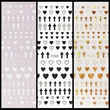 1 Vel 4 Kleuren Lege Effen Cross Heart Shape Zelfklevende Nail Art Stickers Diy Tips F333 #