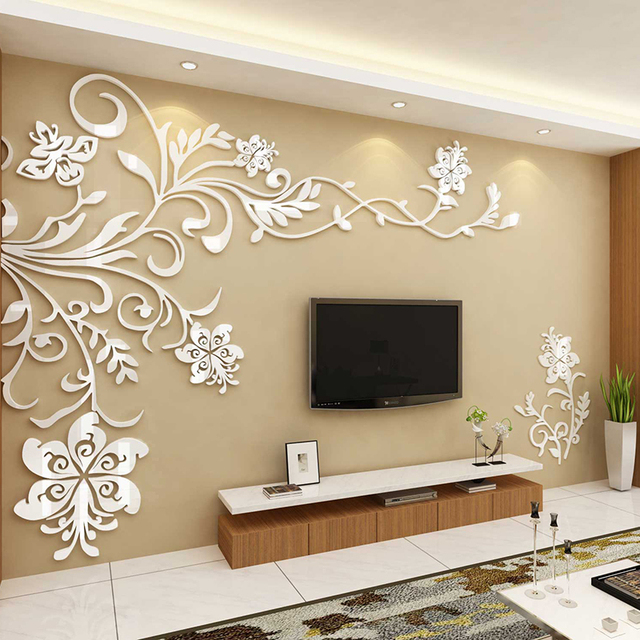 Flower Vine Wall Decorations Living Room 3D Acrylic Decoracion Habitacion Adesivos De Parede Wall Sticker House Decoration Decal