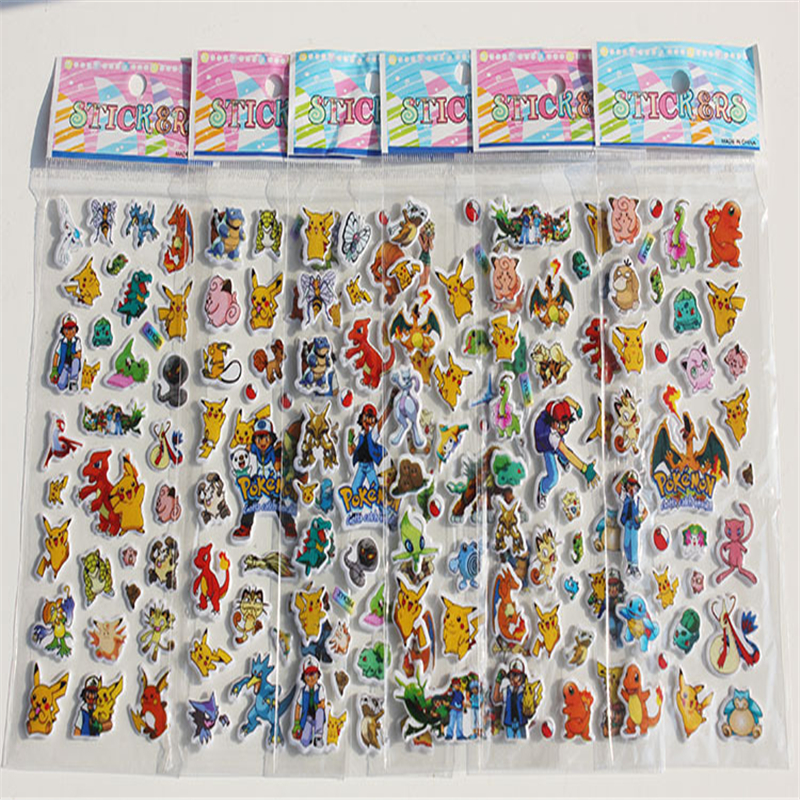 Stickers 12 Sheets/L Pokemon Go Pikachu Stickers Children Classic Toys 3D Cartoon Kids Stickers Christmas Gift For Children Toy