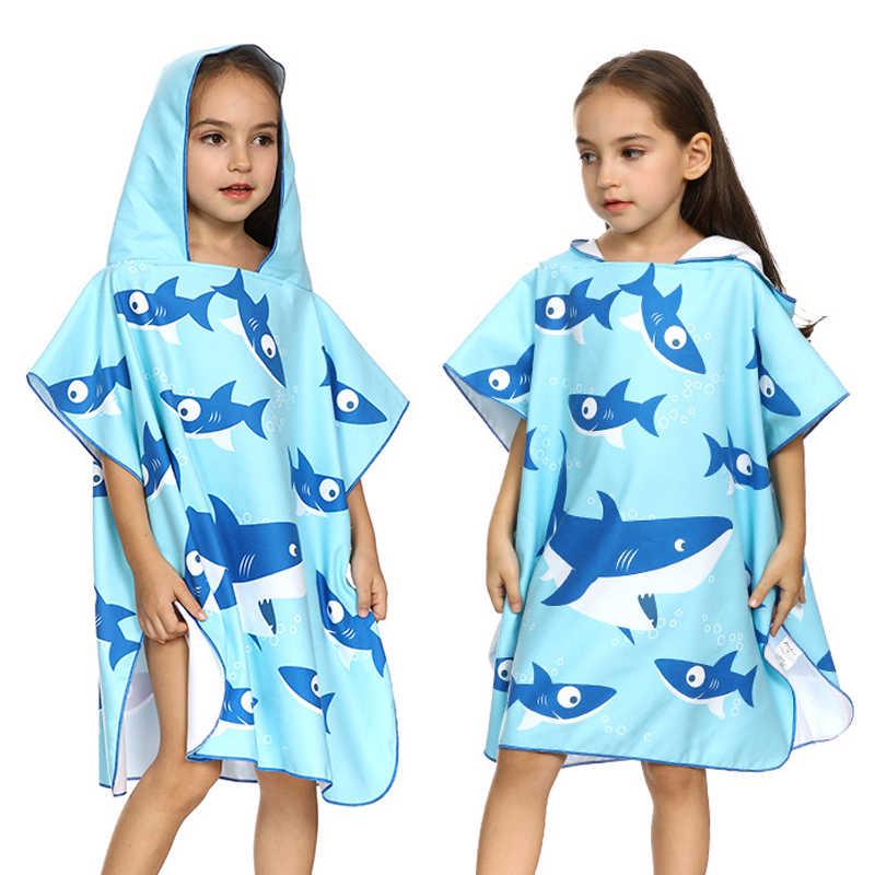 Dzieci Cartoon ręcznik z mikrofibry podróże dla dzieci szybkie suche pływanie kamizelki Camping szlafrok dzieci Fitness joga siłownia Poncho Surf Beach Wear