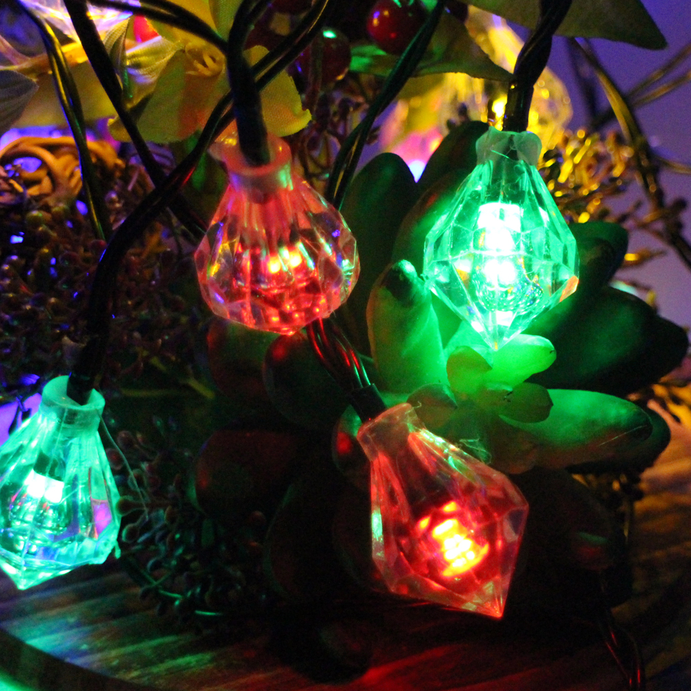 6m 30leds Battery Operated LED Diamond String Lights Waterproof Christmas Fairy Lights Wedding Party Garden Holiday Decoration
